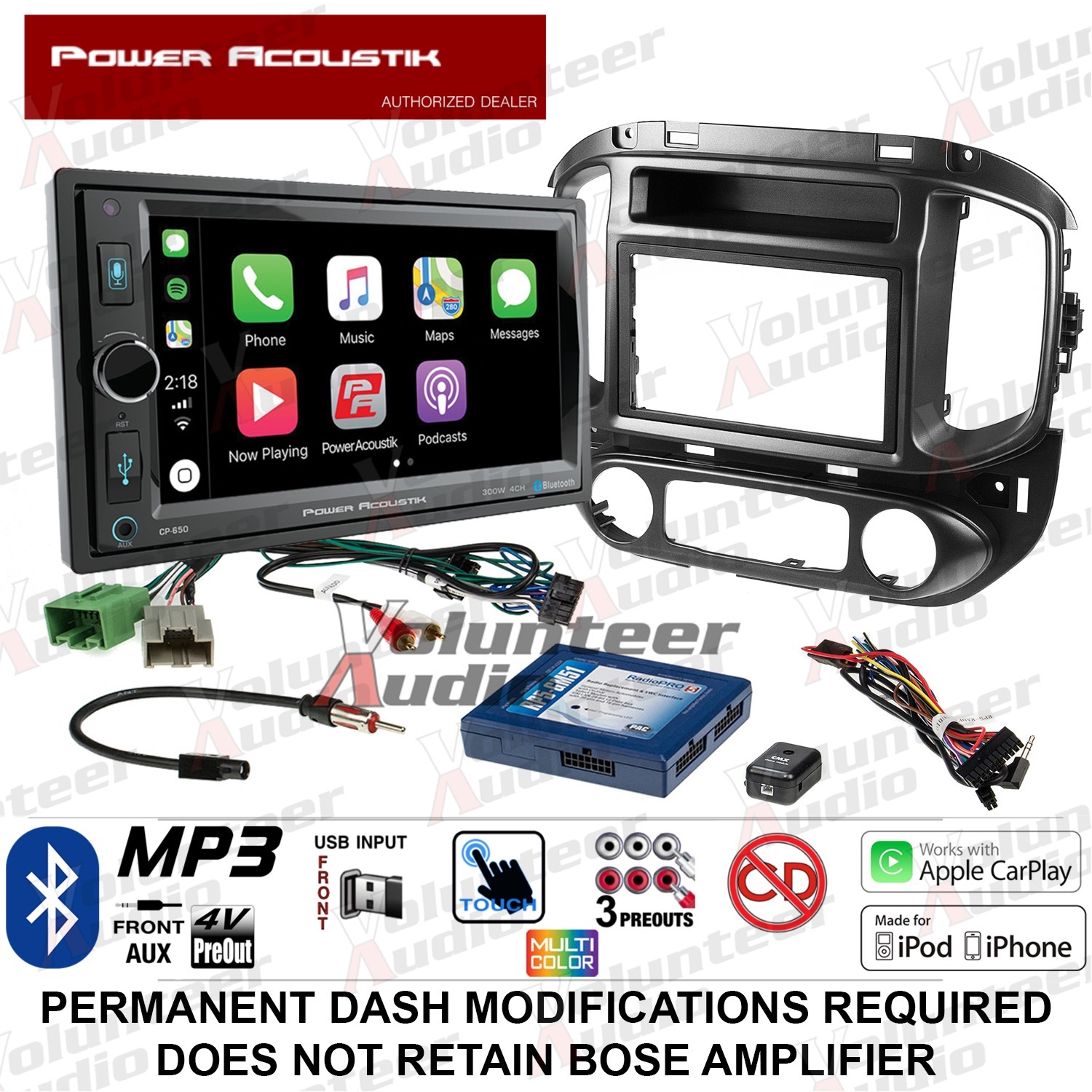 NEW POWER ACOUSTIK BLUETOOTH RADIO CD DOUBLE DIN STEREO RECEIVER INSTALL KIT