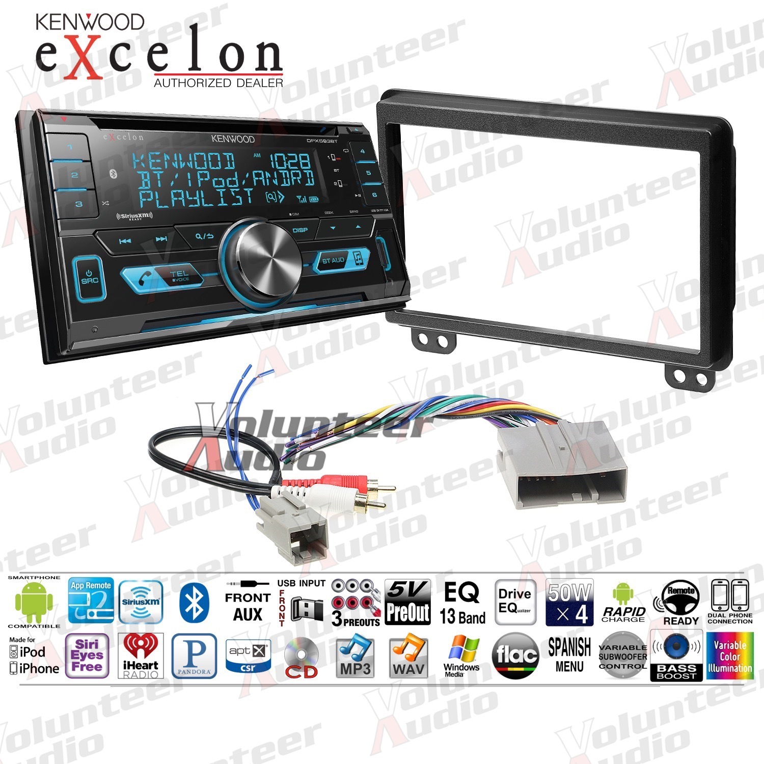 SiriusXM Tuner Kenwood DPX9705S 2 DIN Bluetooth In-Dash Car Stereo Receiver